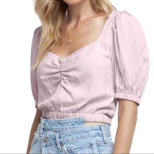 Pink Crop Top with Puffed Sleeves